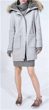 Vince Camuto - Wool Blend Duffle Coat with Faux Fur Trim Hood
