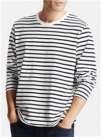 UNIQLO - Men Washed Striped Crewneck Long Sleeve T-shirt