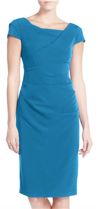 Adrianna Papell - Ruched Matte Stretch Crepe Sheath Dress