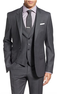 BOSS Hugo Boss - Huge/Genius Trim Fit Three Piece Solid Wool Suit