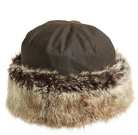 Barbour - Ambush Waxed Cotton Hat with Faux Fur Trim