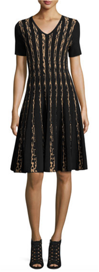 Carmen by Carmen Marc Valvo - Short-Sleeve Leopard Birdseye Jacquard A-Line Dress