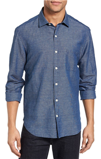 Culturata - Washed Denim Woven Sport Shirt