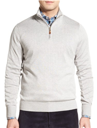 David Donahue - Silk, Cotton & Cashmere Quarter Zip Sweater