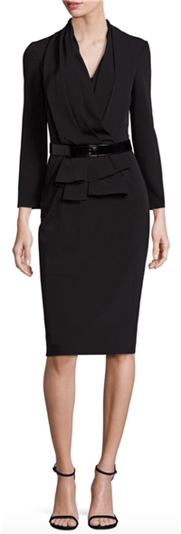 David Meister - Belted Drape-Front Sheath Dress