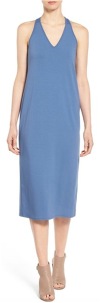 Eileen Fisher - The Fisher Project V-Neck Jersey Racerback Midi Dress