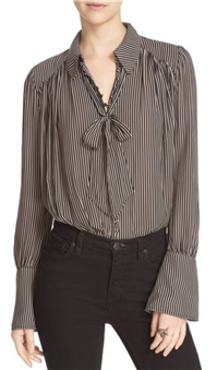Free People - Modern Muse Tie Neck Long Sleeve Blouse