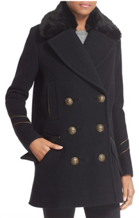 Free People - Sedgwick Detachable Faux Fur Collar Peacoat