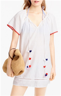 J. Crew - Embroidered Linen-cotton Pom-pom Cover-up