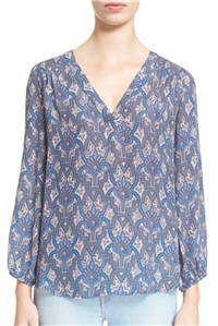 Joie - Axcel Tile Print Silk Peasant Blouse
