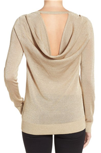 MICHAEL Michael Kors - Metallic Drape Back Sweater