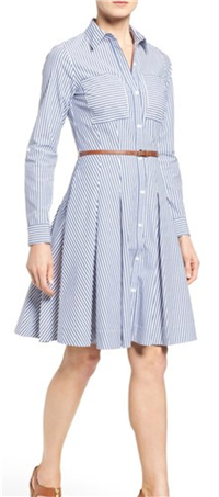 MICHAEL Michael Kors - Belted Stripe Stretch Cotton Shirtdress