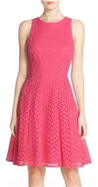 Maggy London - Cotton Eyelet Fit & Flare Dress