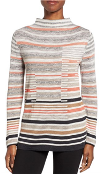 Nic+Zoe - Stripe Knit Funnel Neck Top