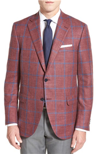 Peter Millar - Classic Fit Windowpane Wool Blend Sport Coat