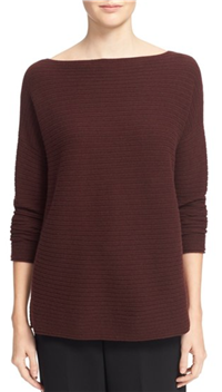 Vince - Boat Neck Horizontal Rib Cashmere Sweater