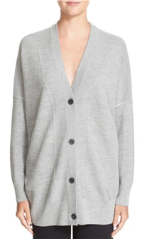 Vince - V-Neck Mesh Panel Double Face Wool & Silk Cardigan