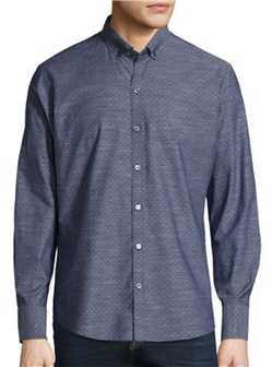 Zachary Prell - Dobby-Print Long-Sleeve Sport Shirt